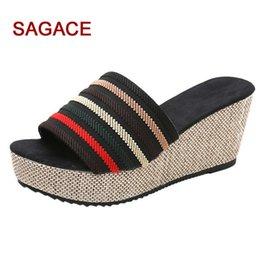 peep toe slipper wedges 2019 - SAGACE Shoes Women Slippers Casual Wedge Summer Slip-On High Heel Platform Peep Toe Shoes Flip Flop Buty Damskie cheap p