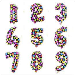 $enCountryForm.capitalKeyWord Australia - 16inch Colorful Round Dots Aluminium Coating Number Balloons Kids Toys Happy Birthday Party Wedding Gifts Decorations CCA11810 500pcs