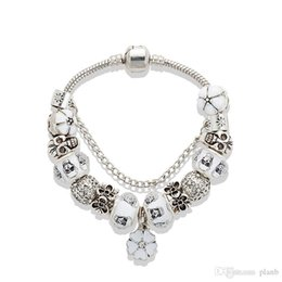 $enCountryForm.capitalKeyWord Australia - White Cherry blossoms Pendant Bracelet 925 silver Skull Charm European Beads Bracelet for Women Jewelry DIY