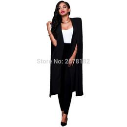 $enCountryForm.capitalKeyWord NZ - Plus Size Fashion Blazer Cape Coats Long Solid Cloak OL Blazer Jackets Popular Blue Cape Blazers Personality Woman Suit Jackets