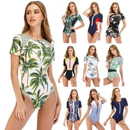 xxl women s jumpsuits NZ - Women Short Sleeve Rashguard Swimwear Vintage Print Swimsuit Running Zipper one piece jumpsuit Surfing wear Top Rash Guard S-2XL