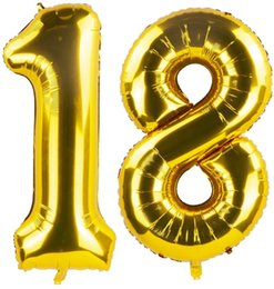 decorations anniversary NZ - Balloons of Gold 40 Inch Foil Mylar Number 18 for 18th Birthday Party 18th Anniversary Decoration