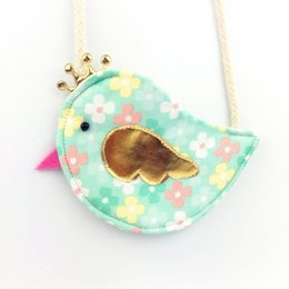 Wholesale Gold Crown Bird Children Coin Purse Cute Baby Girls Colorful Messenger Bag Handmade Cotton Fabric Bag for Kids Gift for Childr