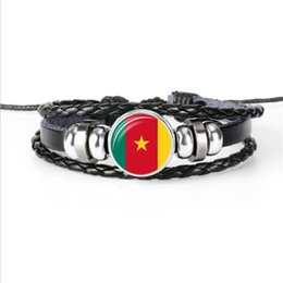 $enCountryForm.capitalKeyWord Australia - Cameroon National Flag World Cup Football Fans Time Gem Glass Dome Jewelry High Quality Handmade Leather Rope Beaded Bracelets For Women Men