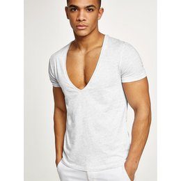 man deep v neck t shirt UK - Men's designer shirt summer brand shirt men's fitness sports leisure combed cotton deep V-neck T-shirt wholesale