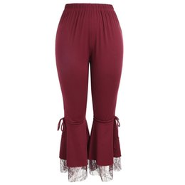 $enCountryForm.capitalKeyWord UK - Womens Sexy Leggings Trousers Lace Pants Panel Flare Wide Pants Yoga Ladies Plus Size Yoga Leggings Red #ES