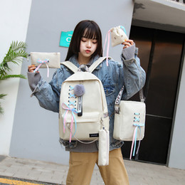 Backpack canvas for girl online shopping - 5pcs set Fashion Bow chain Backpack Girl School Backpacks Mochila Backpack School Bags For Teenage Girls Lace Up bag FFA2532