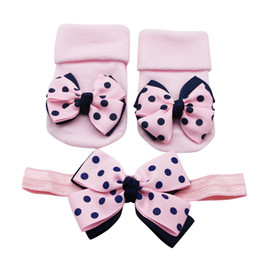 Sock bandS online shopping - Baby Infant Socks PC Hair Belt Toddler Girls Bow Wave Point Anti slip Socks Bows Baby Headband Band Girls Hair Accessories BA
