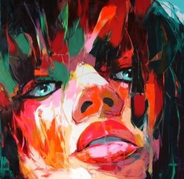 Square Figure Australia - Hand painted Palette knife painting portrait Palette knife Francoise Nielly Face Abstract Oil painting Impasto figure on canvas Decor FN105