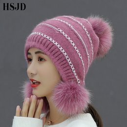 glove Dependable Fur Pompom Hat Winter Women Hats With Cute Three Balls Warm Caps Elasticity Knit Beanie Hats Apparel Accessories