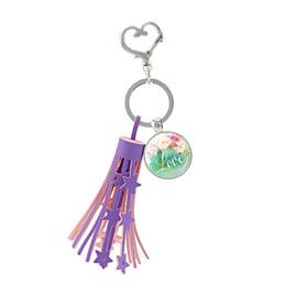 Hope Faith Love Pendant Australia - Purple Tassel Heart Clasps Key Ring Holder Glass Dome Psalm Love Hope Faith Bible Verse Quote Pendant Keychain Gift