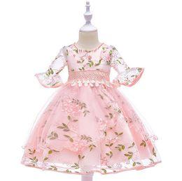 $enCountryForm.capitalKeyWord UK - Fairyshm 2019 Short-Sleeved Beaded Mesh Gauze Sleeve Trumpet Flower Fairy Embroidery Flower Children's Princess Dress MY0066