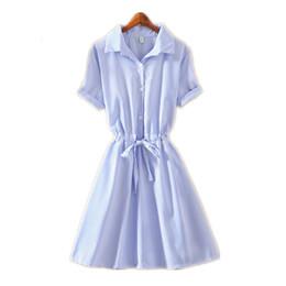 Solid puffed Sleeve t Shirt online shopping - Office Summer Style Boho T Shirt Dress Lady Elegant Blue Striped Wear To Work Shirts Women Dresses Mini