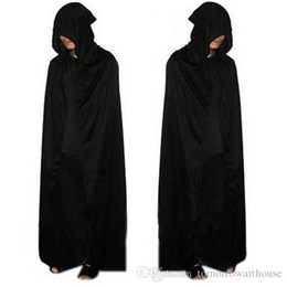 Devil clothing online shopping - Adult Halloween Party Cosplay Clothing Long Black Hooded Cloak Death Big Cloak Cosplay Devil Cloak R0653