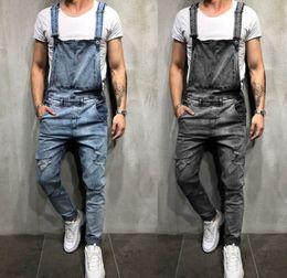 984ecaea411d 2019 Fashion Trend Men s Hole Jeans Jeans Jumpsuit Street Denim Distressed  Suspender Denim Bib Jumpsuit 3 Color Optional 930