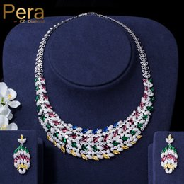 luxurious bridal set 2019 - Pera Luxurious African Bridal Wedding Big Colorful Cubic Zirconia Choker Necklace And Earrings Jewelry Set For Brides Gi