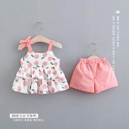 8471692fcc06a Lovely Girls Lemon Braces Tops + Pants 2 PC Set 2019 Verano Niños Boutique  Ropa Niñas Tops sin mangas Trajes