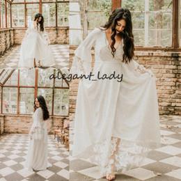 Free Size White Beach Dress Australia - Plus Size Bohemian Long Sleeve Wedding Dresses 2019 Vintage Lace Chiffon V-neck Free People Country Summer Beach Wedding Gown