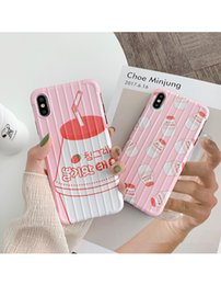 Strawberry milk online shopping - For Iphone Xs Max Xr Phone Case Strawberry Milk Suitcase Design X Plus TPU All Inclusive Soft Cell Phone Cases