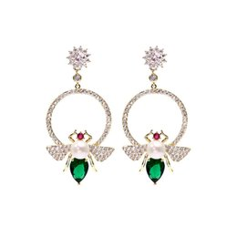 $enCountryForm.capitalKeyWord Australia - Summer Fashion Bee Pearl Earrings For Women Shinning Green Crystal Dangle Earings Jewelry 2019 New Long Silver Earing Rings