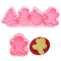 $enCountryForm.capitalKeyWord NZ - New 4pcs pack Cookie Stamp Biscuit Mold 3D Cookie Plunger Cutter DIY Baking Mould Gingerbread House Christmas Cookie Cutters free shipping