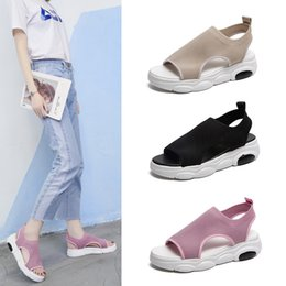 muffin sandals NZ - Magical2019 Muffin All-match Student Bottom Little Bear Shoe Leisure Time Fly Weaving Noodles Ventilation Fish Mouth Motion Sandals