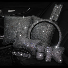 Rhinestones Crystal Car Seat belt cover pad Neck pillow Waist Support Steering wheel cover Auto Interior accessories Kit Set on Sale