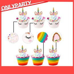 baby shower cakes cupcakes Canada - 24pcs Unicorn Cake Topper Cupcake Wrappers Filigree Paper Cake Accessories for Baby Shower Birthday Party Decoration Kids