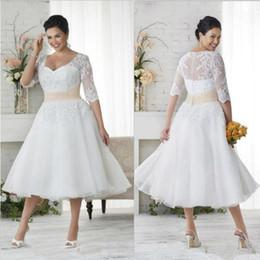 Vintage Plus Size Beach Wedding Dresses Australia - Vintage Lace Appliques Plus Size Bohemian Wedding Dresses With Sheer Half Sleeves V Neck Tea Length A Line Beach Bridal Gowns