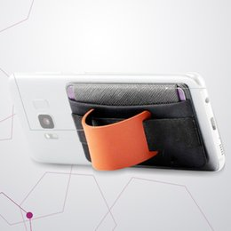 carbon card holder UK - Practical Phone Stand Anti Slip Universal Safety Card Holder Sling Grip Wallet Elastic Finger Pocket Tablet Belt Leather