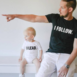 "$enCountryForm.capitalKeyWord NZ - Summer Short Sleeve Family Matching Dad Mom Baby Kid T-shirt Tops Funny Letters Printed ""I follow I lead"" Family Matching Clothes Outfit"