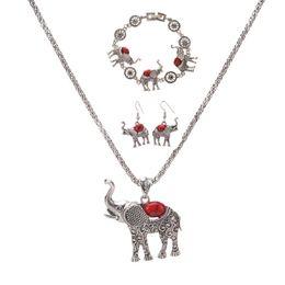 ElEphant jEwElry sEts online shopping - Bohemia Elephant Pendant Necklace Bracelet Earrings Set European and American Exaggerated Jewelry Three Piece Set