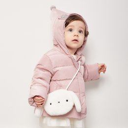 58ad8d3b9e7d Mini Balabala Baby Hooded Puffer Jacket with Pom Pom Newborn Baby Girl Boy  Winter Down Jacket Coat Cross-body Fur Bag Included
