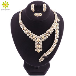 nigerian jewelry sets NZ - Bridal Gift Nigerian Wedding African Beads Jewelry Set Brand Woman Fashion Dubai Gold Plated Necklace Earrings Set2019 Bridal Gift Nigerian