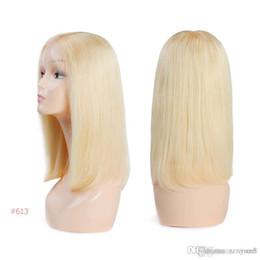ali queen human hair 2019 - Brazilian Remy Hair Part Lace Wigs 130% Density Middle Part #1B #613 Short Human Hair Wigs Ali Queen Hair Lace Front Wig