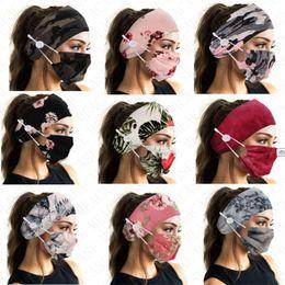Toptan satış Çiçek Kamuflaj Moda Yüz Maskesi Ile Renk Eşleştirme Hairband ile FacMask Düğmesi Spor Bantlar Için Hairband Kadınlar Lady D8503 Için Iki Parçalı Maskeleri