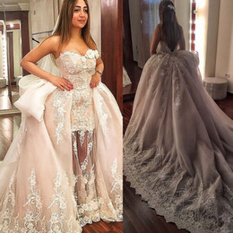 wedding dress peplum skirt NZ - Gorgeous 2019 Plus Size Over-skirts Mermaid Wedding Dresses 3D-Floral Appliques Boho Bridal Gowns Backless Peplum Turmpet Wedding Dress