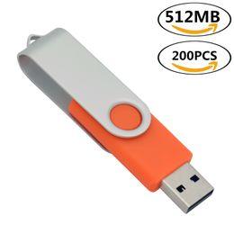 Swivel Usb Flash Drives Pen Australia - Orange Bulk 200PCS 512MB USB Flash Drives Swivel USB 2.0 Pen Drives Metal Rotating Memory Sticks Thumb Storage for Computer Laptop Tablet