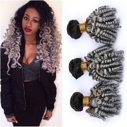 "$enCountryForm.capitalKeyWord Australia - #1B Grey Ombre Funmi Curly Malaysian Human Hair Weave Bundles 3Pcs 300g Silver Grey Ombre Romance Curly Virgin Human Hair Wefts 10-30"""