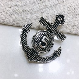 Wholesale anchor lapel pins online shopping - Vintage Anchor Number Brooch Women Retro Anchor Brooch Suit Lapel Pin Fahsion Jewelry for Gift Party High Quality