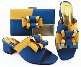 $enCountryForm.capitalKeyWord Australia - Popular royal blue lady pumps color matching handbag set with bowtie style african shoes and bag for dress MM1086,heel 5.5CM