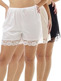 $enCountryForm.capitalKeyWord Australia - Women Anti-Static Slip Pettipants Loose Satin Bloomers Panties Short Lace Trim Lingerie Women's Sexy Casual Loose Slip Shorts