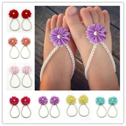 $enCountryForm.capitalKeyWord NZ - Baby girls shoes diy flower foot ring summer fashion jewelry chiffon pearl baby jewelry kids gift for 7 different colors