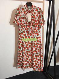$enCountryForm.capitalKeyWord Australia - high end women girls silk shirt dress strawberry print bow short sleeves casual a-line trumpet midi skirts fashion design luxury dresses