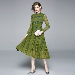 $enCountryForm.capitalKeyWord Australia - Fashion Autumn New Lady's Lace Dresses,Women's Long Sleeve Waist-close Midi Skirts,Hook Floral Panelled Dress