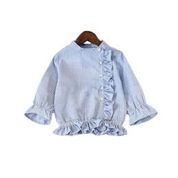 f2060a2036a Camisa a rayas para niñas Temperamento de perlas 2019 Nuevas muchachas  Camisa de moda informal de