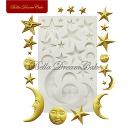 fondant cakes stars Australia - Star Moon Silicone Mold Eid Mubarak Cake Border Moulds Chocolate Fondant Mould Cake Decorating Tools Baking Accessories T200703