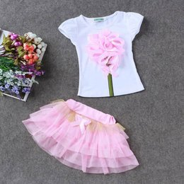 $enCountryForm.capitalKeyWord Australia - 7 Colors Baby Girls 3D Flower Set Clothing New Summer Kids Flowers T-shirt+Gauze Tutu Skirts 2pcs Set kids Fashion Princess Clothing