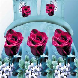 $enCountryForm.capitalKeyWord Australia - BEST.WENSD19 luxury jacquard bedclothes 3d Rose Wedding flat bed linen 100% microfibre bedding set duvet cover housse de couette
