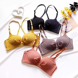 $enCountryForm.capitalKeyWord Australia - Sexy bow deep-v neck Bra Sets For Women Wireless thicken push up small Underwear panties for young girls Solid Lingerie Sets